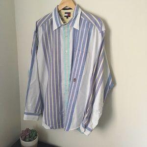 Multi color vertical stripe Tommy Hilfiger shirt